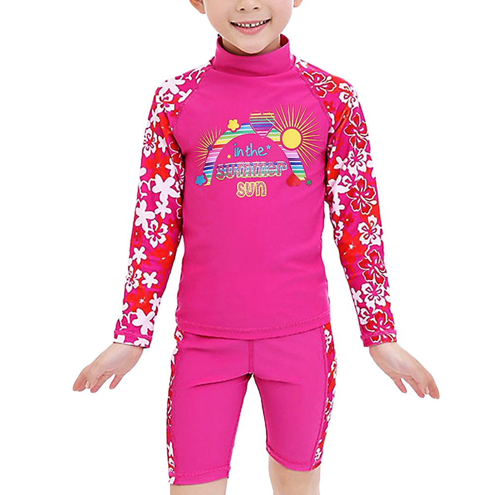 UV Two Piece Long Sleeve Swimwear Rash Guard Sets Kids 3-12 Years TFJH E Girls Swimsuit UPF 50