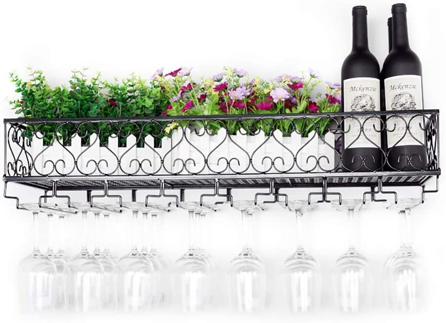 アイアンウォールマウントワインラック、ワイングラスシェルフカップシェルフ、ヨーロッパスタイルのシェルフ、ゴブレットホルダー(色:黒、サイズ:50CM)