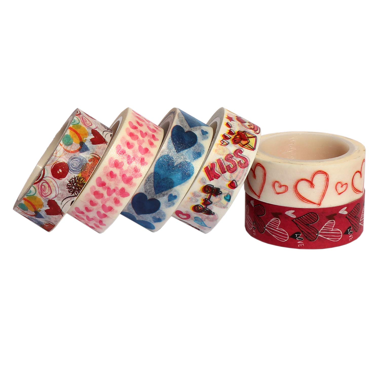 Valentines Day Wedding Anniversary Gift Wrapping 6 Rolls Heart Washi Tape Set 0.6 x 23ft Decorative Washi Tape for Scrapbook Sweet Heart Washi Masking Tape