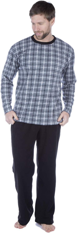 Harvey James Uomo Fleece Pyjama Set V Collo Controllare Pocket Heritage Lounge Wear Pjs