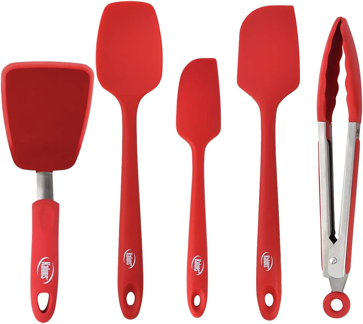 """Kaluns Red 5-Piece set Includes 3 Silicone Spatulas 1 Turner and 1 9"""" Tong Kitchen Tools Best for Cooking, Baking and Mixing, Strong Stainless steel core design Non-stick and 600F Heat resistant"""
