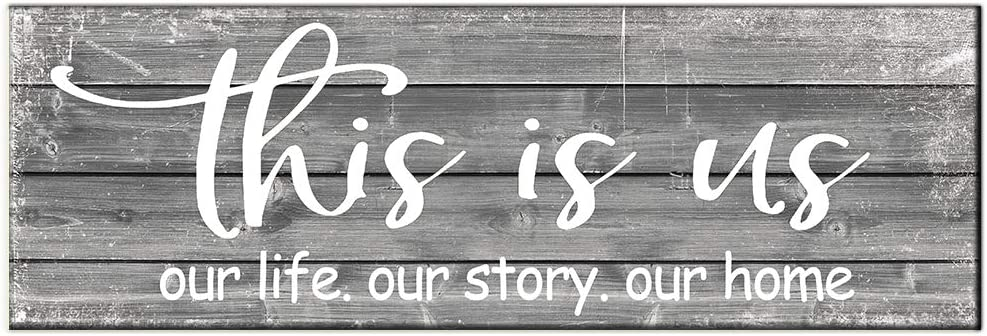 BEROSS This is Us Sign Our Life Our Story Our Home Rustic Wood Plaque Sign Farmhouse Wall Decor for Living Room Bedroom Entryway Kitchen 6 x 17.75 Inch