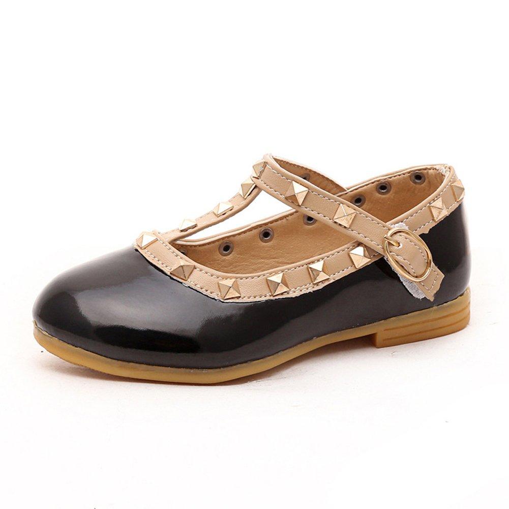 Kids Girls Low Heel Wedding Dancing Party Dress Flat Shoes Black Size 3