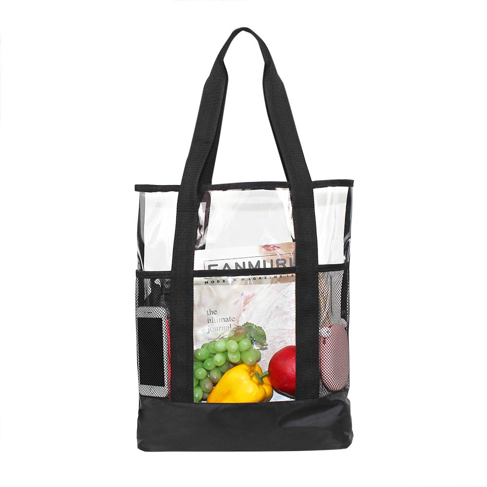 Magicbags Large Clear Tote Bag,Multi-pockets Beach Shoulder Bag Perfect for Security Travel,Shopping,Work and Sports Gym