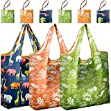 REGER Foldable Shopping Grocery Bags Reusable & Machine Washable (Medium Size) for Environmental Protection (Pattern 02, Pack of 6)