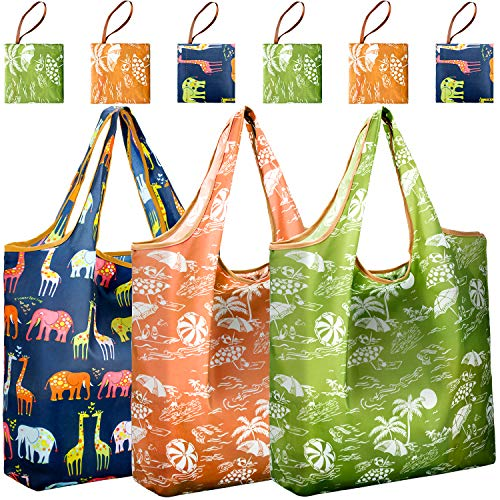 REGER Foldable Shopping Grocery Bags Reusable & Machine Washable (Medium Size) for Environmental Protection (Pattern 02, Pack of -