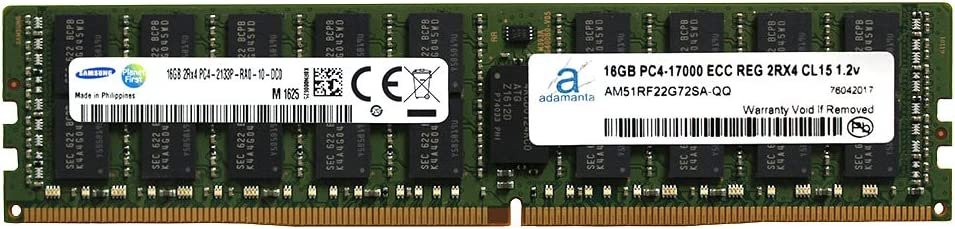 Adamanta 16GB (1x16GB) Server Memory Upgrade Compatible for Dell Poweredge, Dell Precision & HP Proliant Servers DDR4 2133MHz PC4-17000 ECC Registered Chip 2Rx4 CL15 1.2V P/N: SNP1R8CRC/16G DRAM RAM