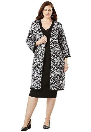 de531b4ee73a19 Amazon.com  Roamans Women s Plus Size Sheath Dress with Sweater Jacket   Clothing