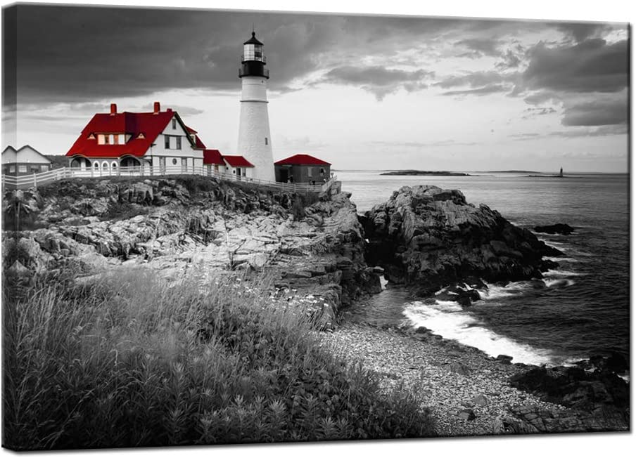 Nachic Wall Black and White Red Wall Art Portland Lighthouse Landscape Picture Canvas Painting Ocean Beach Artwork for Home Living Room Wall Decoration Stretched Ready to Hang