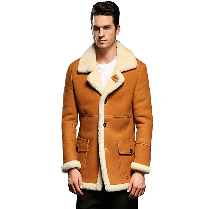Amazon.com: Sani hombre, diseño clásico de piel de oveja ...