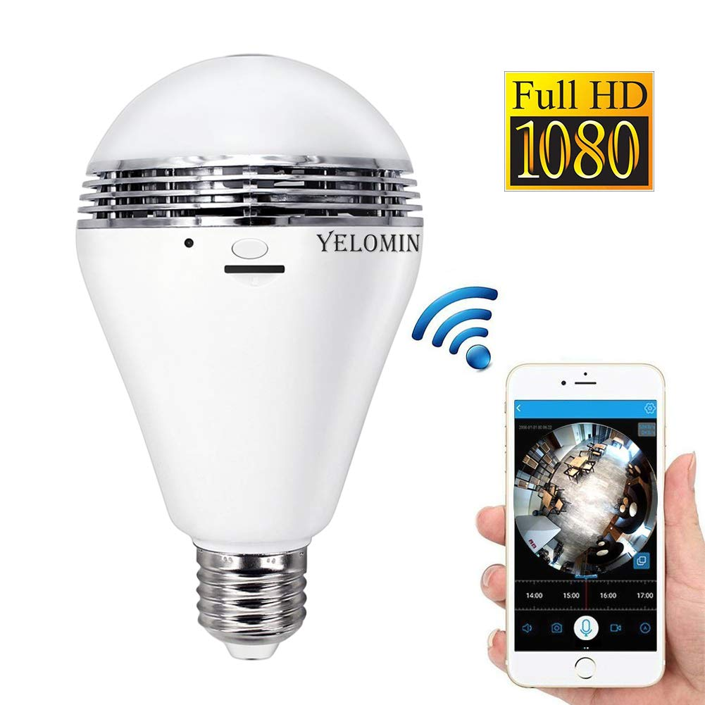 1080P HD WiFi Light Bulb Camera Yelomin Night Vision Wireless Panoramic IP Surveillance Security Camera,Dome Mini Baby Pet Monitor for Home Indoor