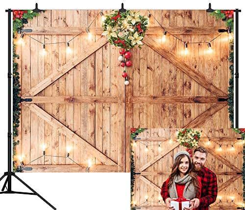 DePhoto 7X5FT Christmas Decor on Rustic Barn Door Backdrop Wooden Board Photography Seamless Vinyl Photo Background Studio Prop PGT466A