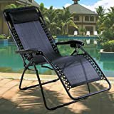 Denny International Black Textoline Zero Gravity Reclining Garden Sun Lounger Chair