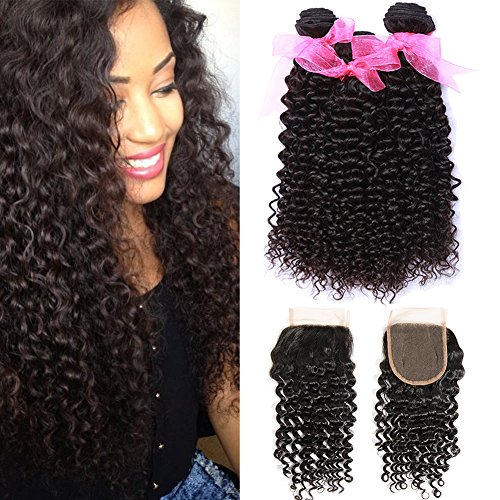Malaysian Virgin Curly Hair with Lace Closures Kinky Curly Human Hair 3 Bundles with closure Free Part with Baby Hair (14 16 18+12Inch Closure)