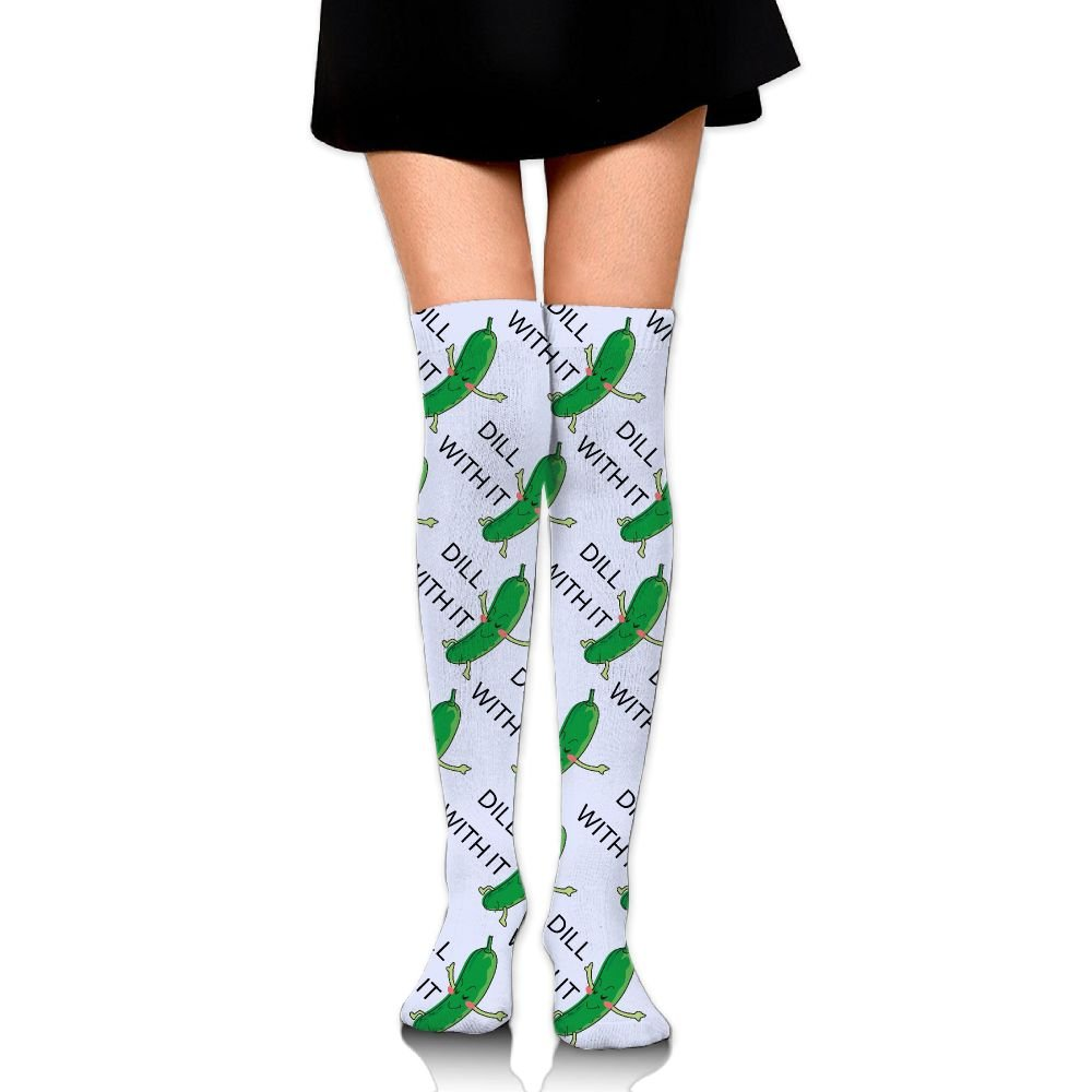 Dill With It Cartoon 3D Printed Womens Over Knee Stockings Leg Warmers Winter Warm Cotton Long Socks 23.6nch