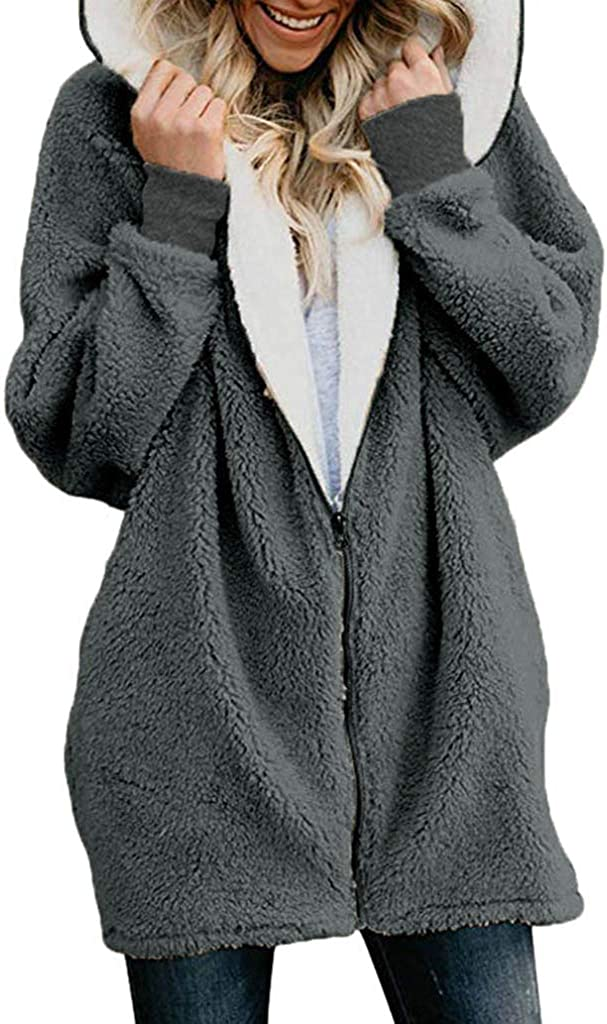 Womens Zip Down Hooded Fluffy Coat Solid Oversized Cardigans Outwear with Pocket