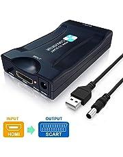 HDMI a SCART Convertidor,PORTHOLIC Adaptador HDMI a Euroconector Entrada HDMI Salida SCART 1080P Vídeo Adaptador para CRT TV, CCTV,Reproductor de DVD,Proyector, PS3, PS4,Nintendo Switch,Xbox