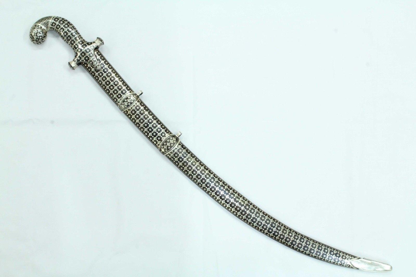 Rajasthan Gems SWORD DAMASCUS STEEL blade SILVER WIRE Bidaree work Handle sheath 32 inch