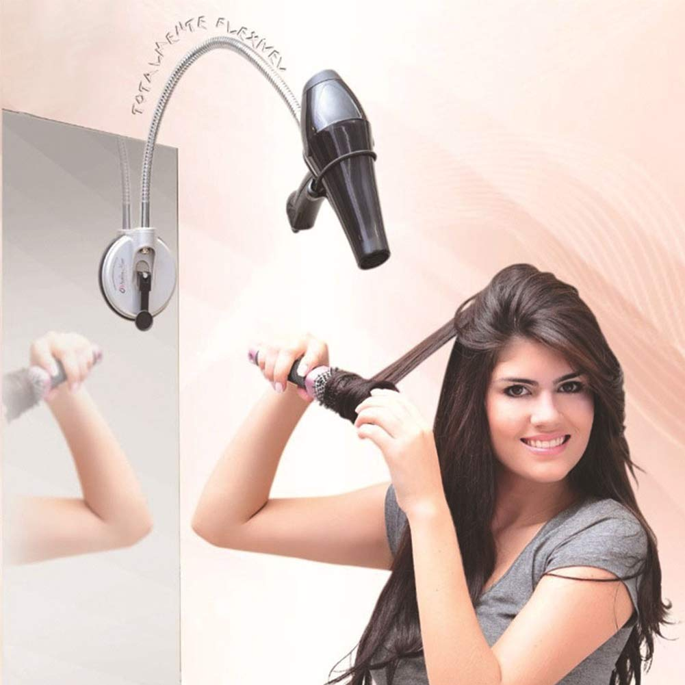 ETbotu Hair Dryer Stand Holder 360 Degree Stainless Hairdryer Holder with Sucker for Home Storage