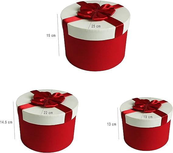 Interiore Pois e Nastro Decorativo in Raso Scatola Rossa Con Coperchio Bianco EmartbuySet di 3 Lusso Rigido Cilindro Confezione Regalo di Presentazione