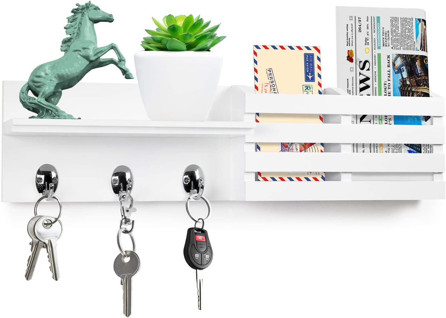 """Greenco Entryway Wall Mounted Floating Shelf Letter Holder with Hooks, Hat and Coat Wooden Hanging Storage Shelf, 24"""" – White"""