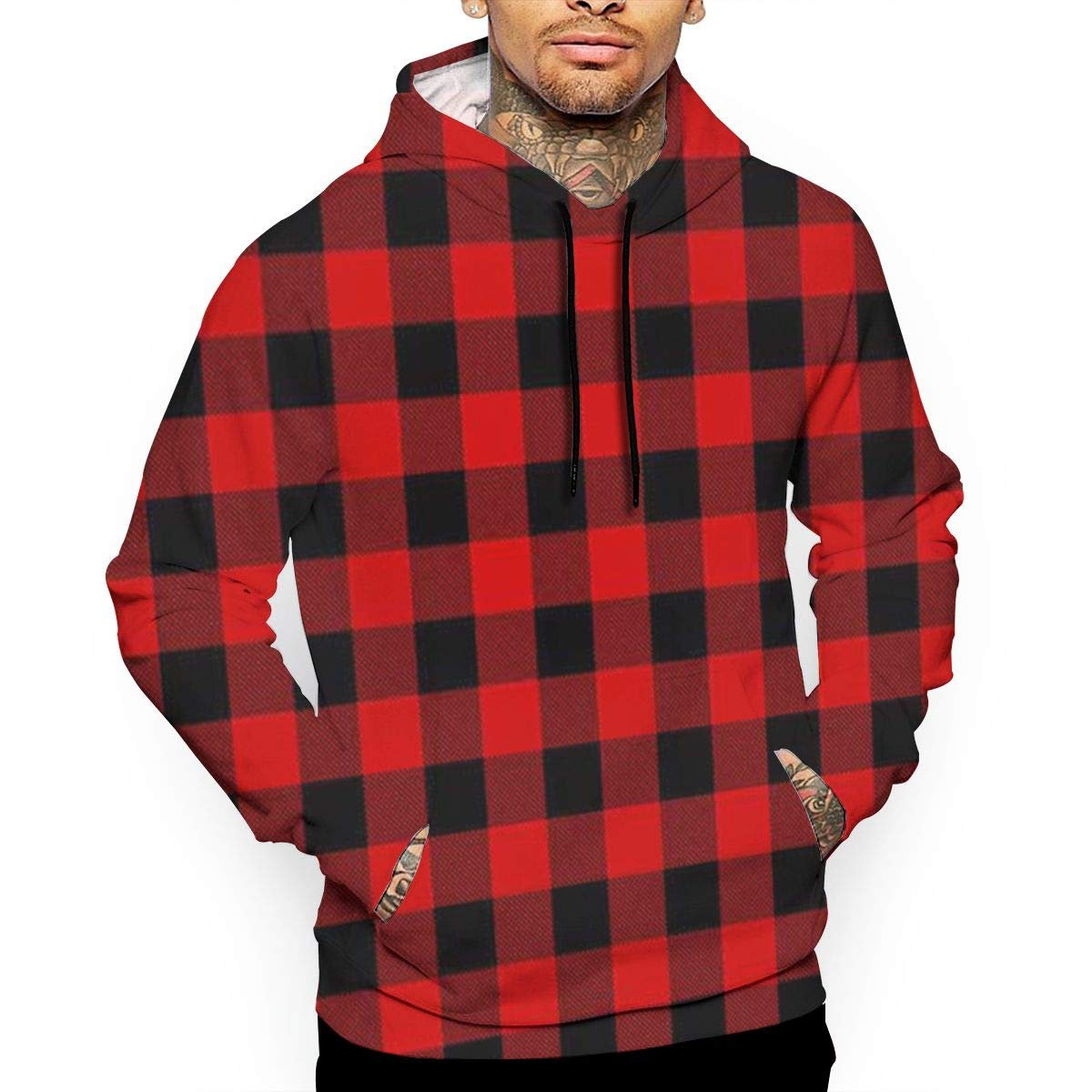Buffalo Plaid Red Checkered T-Shirt Hooded with A Pocket Rope Hat Customization Fashion Novelty 3D Mens