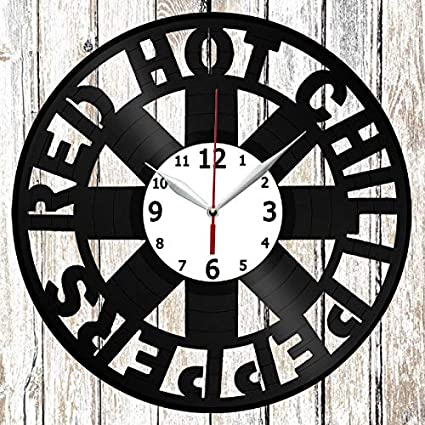 RHCP Vinel Record Wall Clock Home Art Decor Handmade Unique Design Original Gift Vinyl Clock Black