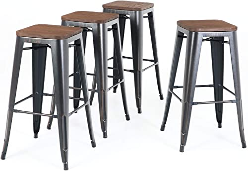 ALPHA HOME 30 Barstools Set of 4 Counter Height Metal Bar Stools with Wood Seat, Vintage Metal Backless Distressed Metal Finish for Industrial Appeal, Black Brush Rusty Gold
