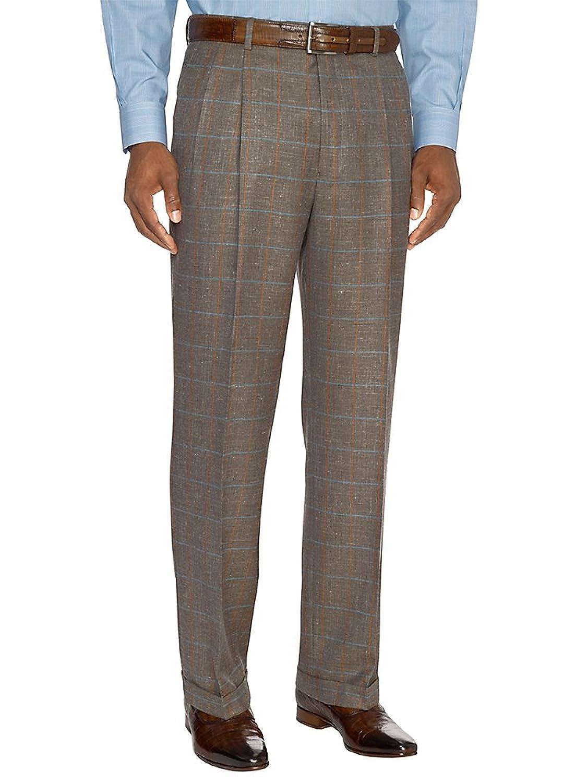 Paul Fredrick Men's Taupe Wool, Silk \ Linen Pleated Suit Pants