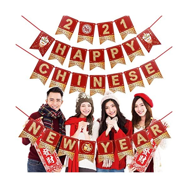Red Chinese Party Bunting Banner Year of The OX Pennant Banner Garland for 2021 Chinese New Year Lunar Year Spring Festival Party Supplies Happy Chinese New Year Party Decoration