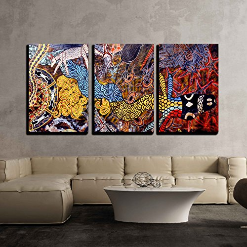 (wall26 - 3 Piece Canvas Wall Art - Indigenous Australian Art Dot Painting - Modern Home Decor Stretched and Framed Ready to Hang - 16