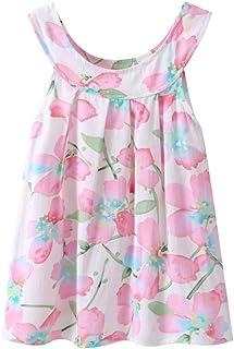 HLHN Baby Girls Dress,Floral Print Sleeveless Cute Princess Toddler Kids Party Summer