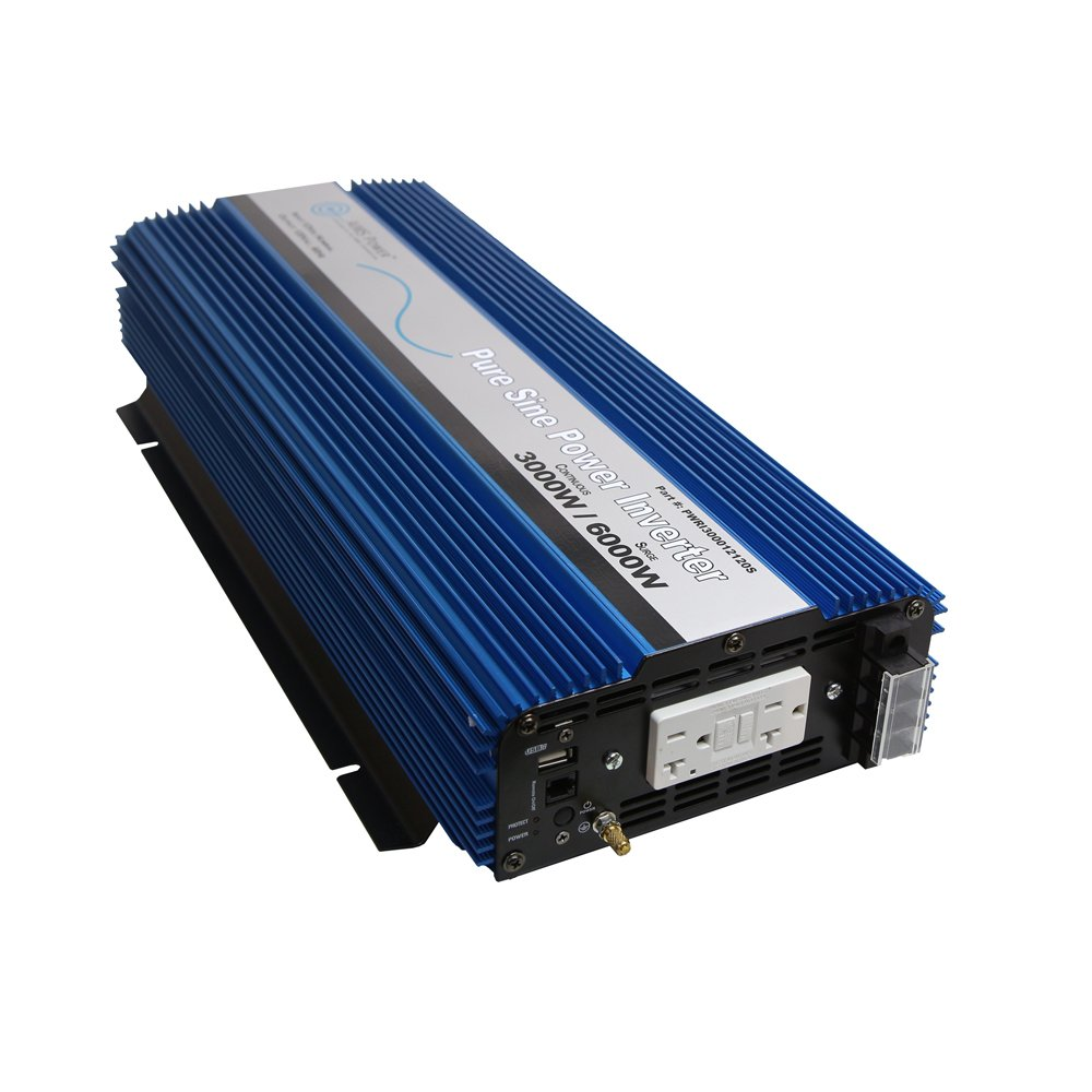 AIMS 3000 Watt Pure Sine Power Inverter 12 VDC to 120 VAC USB Port