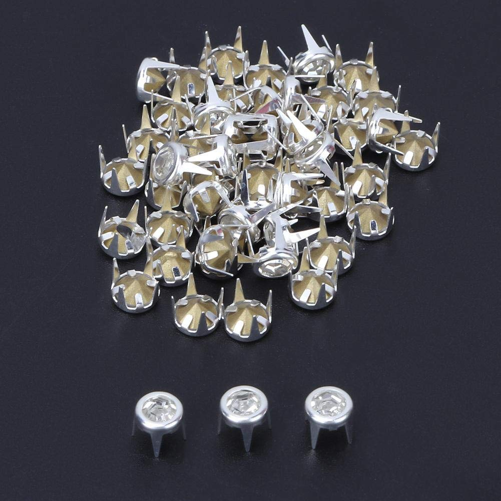 50 Pcs Crystal Claw Beads Nailhead DIY Fashion Rhinestone Nailhead Studs Silver//Gold Base Punk Spikes Decorative Rivets for DIY Leather-Craft Gold