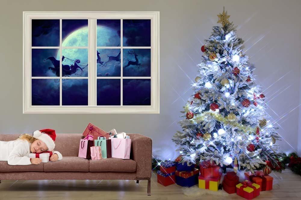 Xmas Santa Claus N Reindeer Flying Under The Moon Window