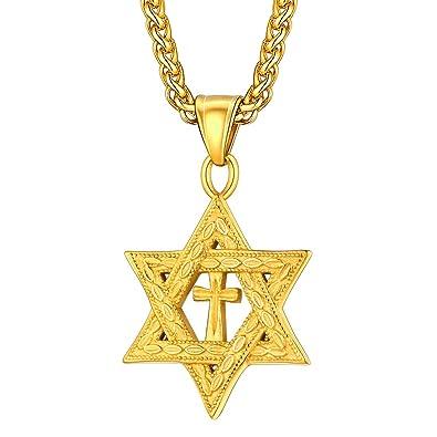 U7 Collar con Colgante de Estrella de David Acero Inoxidable ...