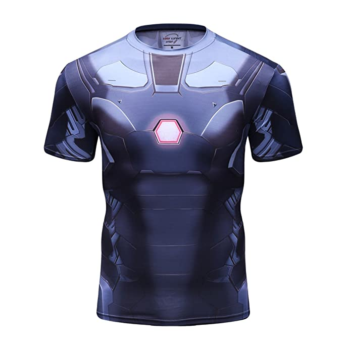 Red Plume Men's Compression Fitness Shirt Iron Hero Wicking Sports Short Sleeve by Red Plume