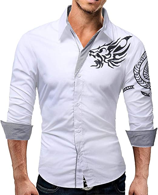 Qiusa Camisas Casuales para Hombre Top de Manga Larga Casual, Slim ...