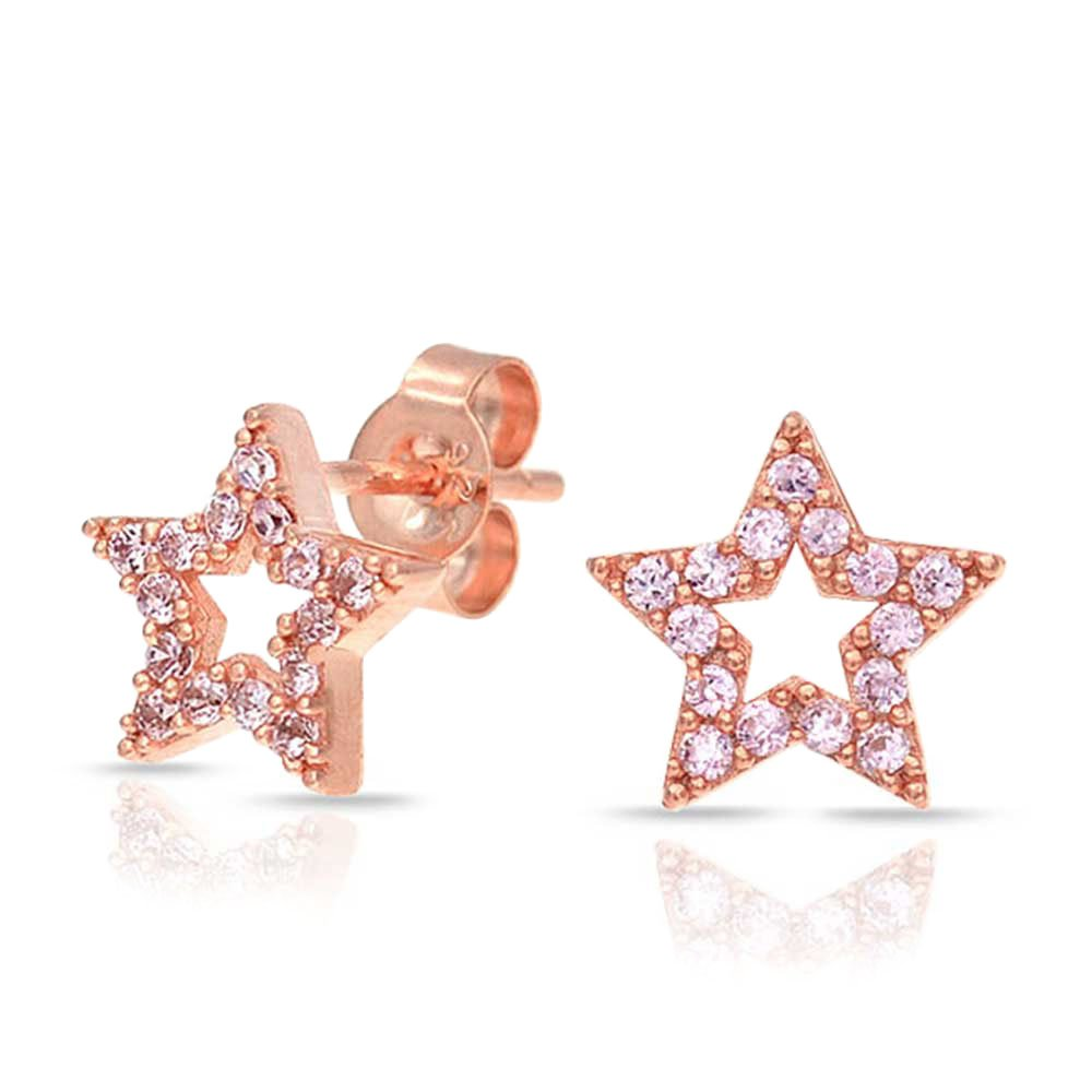 Patriotic Rock Star Micro Pave Cubic Zirconia CZ Stud Earrings For Women For Men 925 Sterling Silver More colors