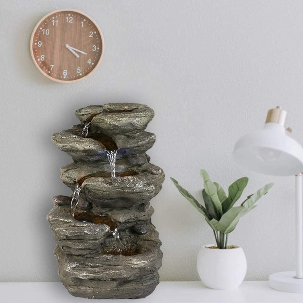 Valentinyii 11 Inches High Emulated Rock Fountain w/LED Lights - 5-Tier Rock Falls Tabletop Water Fountain - Indoor Small Rock Waterfall for Office and Home Décor