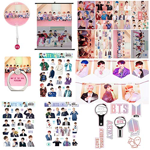 Rehero BTS Gifts Set for Army BTS New Album Map of The Soul Persona Kit Set - 8 BTS Poster, 1 BTS Banner, 1 BTS Wall Scroll Cloth Poster, 4 - Fan Kit Scroll Accessories