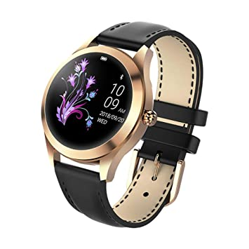 FBLWT Smartwatches Reloj Inteligente para Mujer Kw10 Color Ip68 Señoras Rastreador De Fitness Pantalla Táctil Redonda