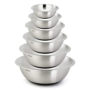 ChefLand Non Slip Stainless Steel Mixing Bowls 6-Piece Set With Silicone Base – Compact & Stackable Metal Whisking Bowls, Stylish Mirrored Exterior, Safe & Sturdy Design – Ideal For Cooking & Serving