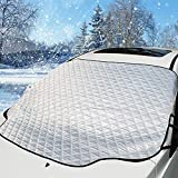 HEHUI Car Windshield Snow Cover,Car Sunshades for Windshield with Magnetic Edges Snow, Ice Defense No Scratches, Cotton Thicker Windshield Winter Cover Fits for Most Cars