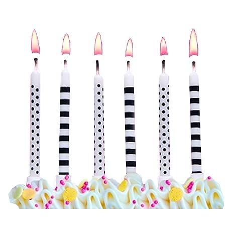Velas de cumpleaños 6 pcs negro - blanco con puntos y rayas ...