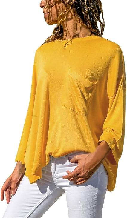 AIni Camisas De Manga Larga para Mujer Tops De AlgodóN Suave, Ocio Moda Verano Blusa SóLida Costura Bolsillo Camisa Cuello Redondo Blusa Mujer Elegante Blusa SóLida Casual: Amazon.es: Ropa y accesorios