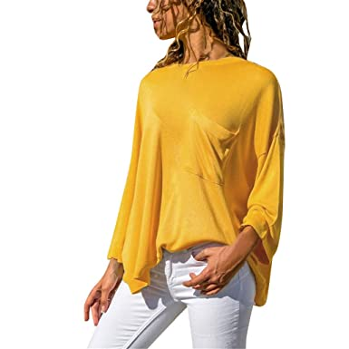 Sylar Tops Mujer Camiseta Manga Larga Camisa Mujer Color Sólido ...