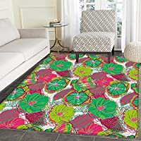 Floral Area Rug Carpet Tropical Blossom Caribbean in Exotic Tones Hyacinth Hippie Print Living Dining Room Bedroom Hallway Office Carpet 3x5 Jade and Lime Green Hot Pink