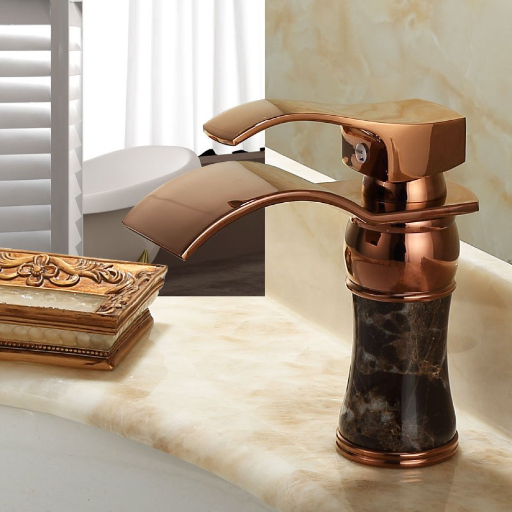 European-style bathroom antique basin faucet single handle hot and cold mixing faucet single hole wash basin faucet plating process,rose gold