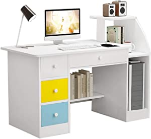39 Inch Computer Laptop Desk with Sturdy Storage Shelf,Modern Simple economical Style Home Desk Writing Desktop Small Space Desk (White-B)